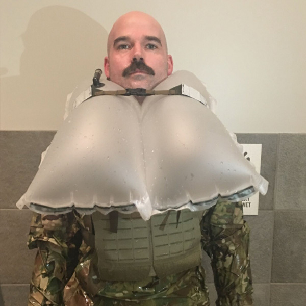 inflated military life preserver