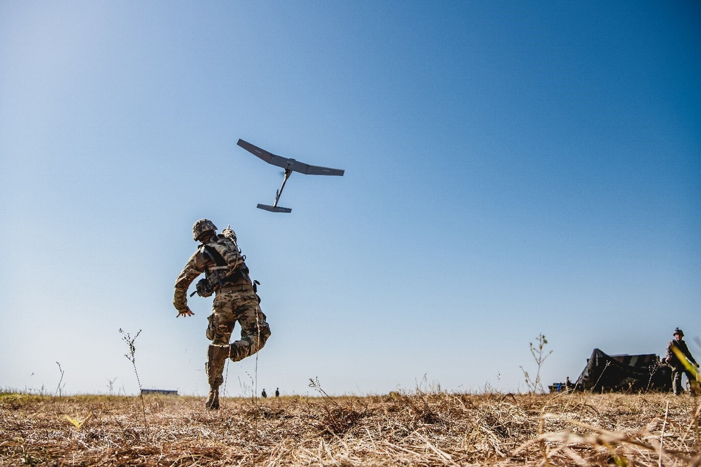 soldier launches uas
